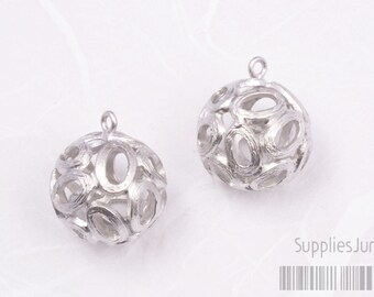 P069-02-MR// Matt Rhodium Plated Filigree Metal Beads, 2pcs