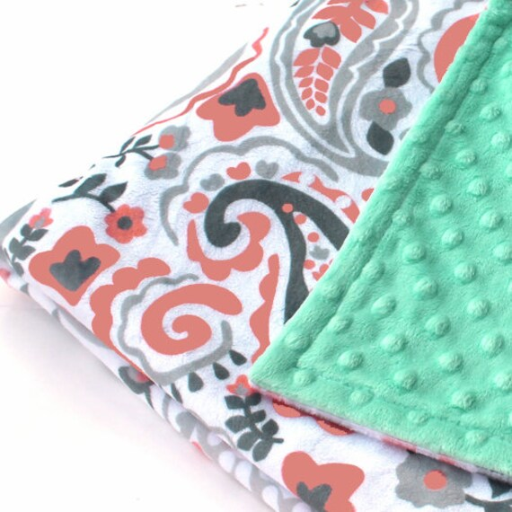 Paisley Girl Lovey, Personalized Baby Blanket Girl, Minky Baby Blanket,Mint Coral Gray Paisley Blanket, Mini Baby Blanket, Security Blanket