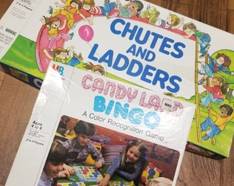 Vintage 1979 Chutes and Ladders Board Game + 1984 Candy Land Bingo
