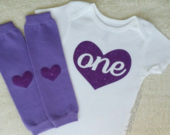 One Year Old Girl Birthday Outfit, Personalized Girl First Birthday Outfit, 1st Birthday Shirt, Purple 1st Birthday Girl Outfit, ©Liv & Co.™