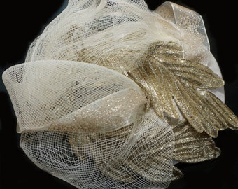 Cream and Gold Glitter Crinoline Fascinator