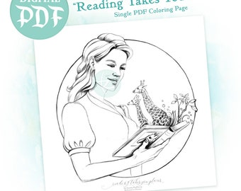 Reading Takes You Places - Single Digital Coloring Page PDF Download - Dedicated to Emma