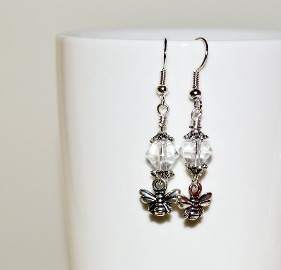 Bee Earrings, Drop Earrings, Bee Charm Jewelry, Bee Dangle Earrings, Bee Jewelry, Insect Earrings, Silver Bee Earrings, Pretty Drop Earrings