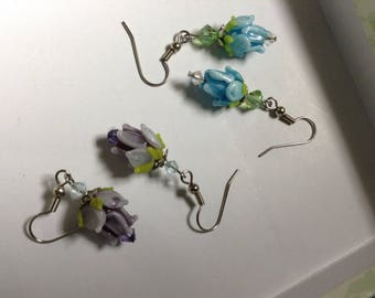 Garden lampwork trumpet purple or blue flower French wire earrings. FREE US SHIPPING.