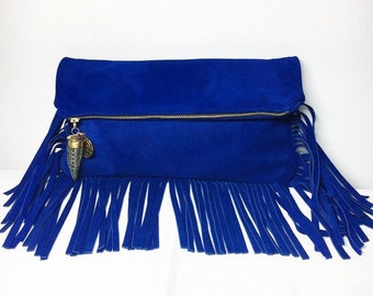 Zani Clutch- Cobalt Blue Suede Fringe Clutch with Tusk & Coin Charms