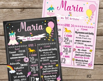 Unicorn Pink First Birthday Chalkboard Poster, Pastel Girl 1st Birthday Chalk Board, Pink Gold Hearts Stars, Any Age, Rainbow Chalkboard
