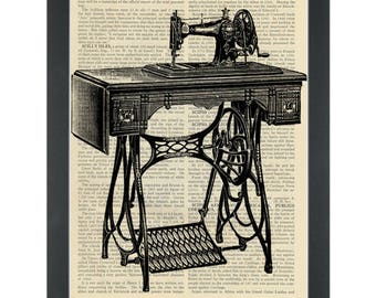 Antique Sewing Machine Dictionary Art Print
