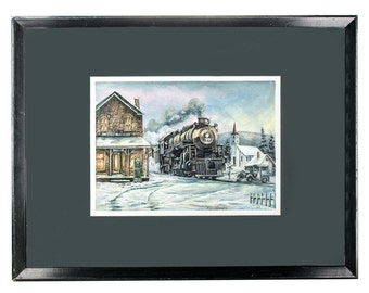 Watercolor gouache painting of store train and truck by K D Moore, Lebanon, PA