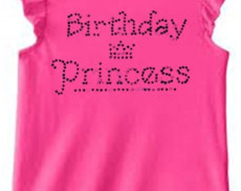 Birthday Princess Rhinestone T-Shirt Made to order