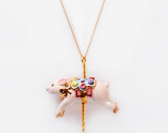 Merry Go Round Porcelain Pig Pendant and gold plated necklace/Pig Necklace/ Pig Pendant / Pig/ Animal Necklace/ Necklace/ Porcelain Necklace