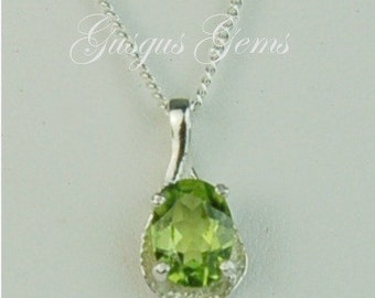Peridot Sterling Silver Necklace 8x6mm 1.25ct In Semi Textured Setting Natural Untreated