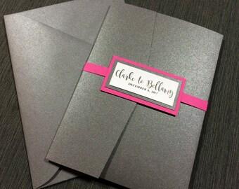 Pink and Gray Wedding Invitations, Hot Pink Wedding, Fun Wedding Invitations, Grey metallic Classic Invitations, Fuscia Wedding Invitation