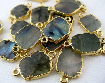 Labradorite Petite Freeform Double Bail Connector Charm Pendant with 24k Gold Electroplated Edge (S28B4-17)