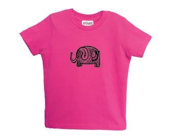 Pink Elephant Kids Tshirt Size 2 4 6 American Apparel Cotton T2 T4 T6