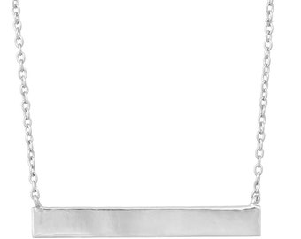 Sterling Silver 4mm x 30mm Bar Engravable Name or Monogram Necklace