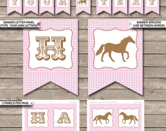 Horse Party Banner - Pony Party - Happy Birthday Banner - Custom Banner - Party Decorations - Bunting - INSTANT DOWNLOAD with EDITABLE text