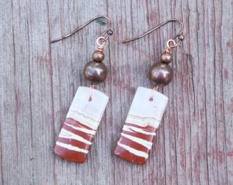 Natural Stone Earrings, Boho Earrings, Red Creek Jasper Earrings, Raw Stone Earrings