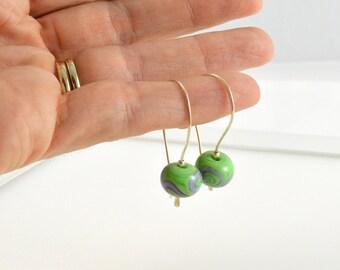 Pastel Earrings, Green Earrings, Gift for Wife Birthday, Green Jewellery, FREE Shipping, Unique Drop Earrings, Australian Jewellery
