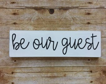 Be Our Guest Wood Sign, Guest Room, Small Wood Sign, Colorful Sign, Farmhouse Decor, Guest Room Decor, Bookshelf, Guests, Black and White