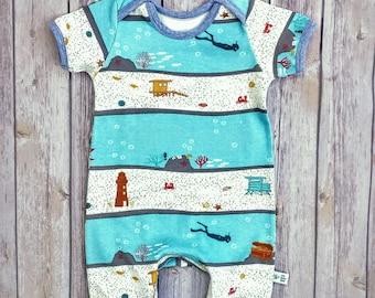 Baby Boy ORGANIC Cotton Knit Romper, Infant Boy Cotton Overalls, Baby Organic Clothes, Baby Bodysuit, Infant Cotton Onesie, Baby Boy Gift