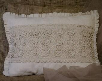 Crochet pillow. Cotton pillow. Handmade pillow. Home decor pillow.