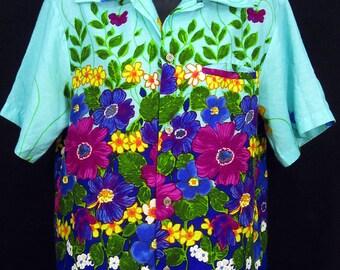 McINERNY Hawaii Vintage Bold Floral Pattern Mens Hawaiian Shirt