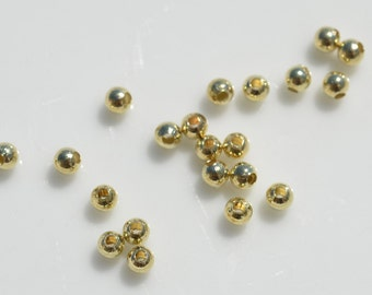 100 Gold Plated 4 mm  Round  Beads BD120