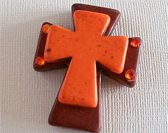 CROSS Large Stacked Brown Stone with Orange Stone Cross and Bling