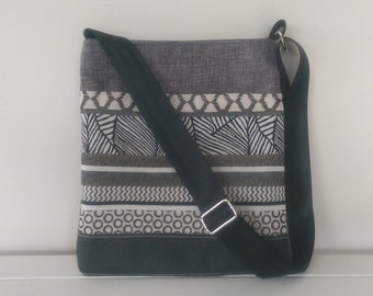 Tote: Black Leather and Grey fabric on Large outside pocket