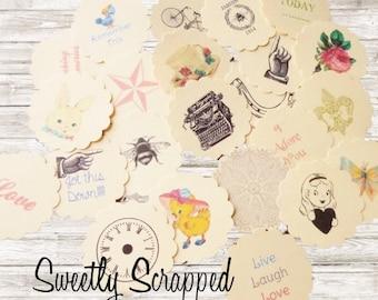 Variety Of Vintage Images Scalloped Circles, Toppers, Scrapbooking, Cardmaking, Embellishments, Grab Bag, Collage, Altered Art, Vintage, DIY