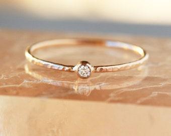 Mini Diamond Ring, 14k Gold Slim Stacking Ring, Hammered Gold Band, Slim Engagement Ring, Ethical Canadian Diamond, Handmade Jewelry