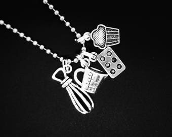 Baking / Cooking Necklace Silver Charm Pendant Gift for Chef Baker Cook