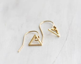 Gold triangle earrings - simple 14k gold filled triangle dangle earrings, geometric earrings, minimal, modern, everyday jewelry gift for her