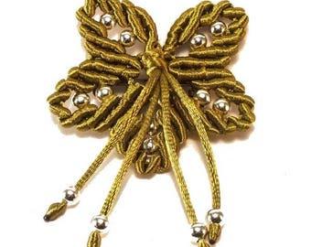 Macrame and khaki satin flower brooch