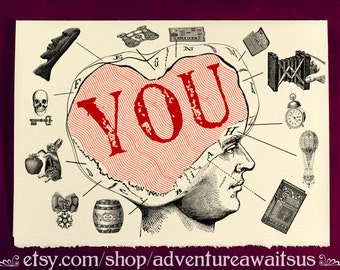 Greeting Card - YOU - Victorian illustration miss missing you friend love long distance relationship steampunk thoughts dreams valentine