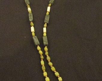 "Serpentine / Peridot Jasper / Olive New Jade / bronze glass Lanyard 38"""