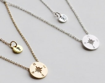 Compass Necklace, Personalized initial christmas gift, Graduation Friendship Necklace, Best Friends, BFF Gift, sister, Journey Necklace