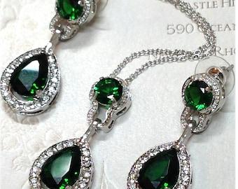 Wedding jewelry, bridesmaid necklace earrings, vintage inspired rhinestone bridal statement, Emerald green jewelry set, bridesmaid jewelry