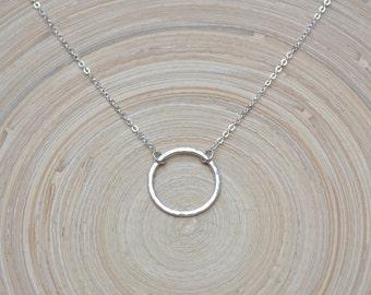 Open Circle Necklace, Silver Circle Necklace, Karma Necklace,  Hammered Silver Circle Necklace, Silver Eternity Necklace, Silver Circle