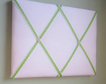 "11""x14"" Memory Board, Bow Holder, Ribbon Board, Vision Board, Bow Board, Memo Board, Accessory Organizer, Pink & Lemongrass"
