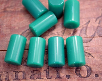 Quality Vintage Green Acrylic Beads Short Tube Beads Green Onyx Color Tube Bead (4) SV33