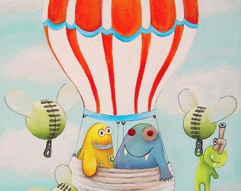 Art prints for kids, Prints for kids, Kids art print, Kids prints, Kids art, Hot air balloon nursery art, Kids monsters art, Kids monsters