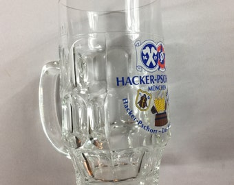 Hacker-Pschorr Glass Stein Beer Mug München Das Bier Furs Leben Germany Cup