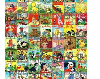 Digital Download 63 Vintage Children's Books Collage Sheet  1x1 inch  Digital Printables Jewelry Supply - INSTANT DOWNLOAD