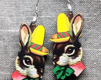 Bunny Earrings / Vintage Rabbit Earrings / Easter Earrings / Easter Bunny / Vintage Easter Earrings / Rabbit Jewelry / Bunny Jewelry