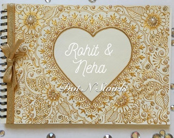 Personalized wedding guest book/ guest book/indian wedding/ bollywood wedding/henna wedding/ indian pakistani decor/autograph book