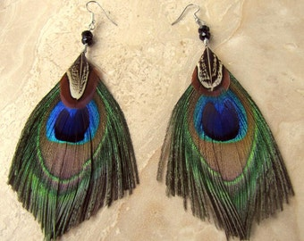Peacock Feather Earrings - Beaded Feather Earrings, Peacock Feather Jewelry - The Eyes of Spring