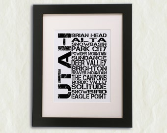 Utah Ski Areas Word Art Print