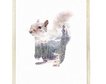Squirrel Animal Double Exposure Art Print - Faunascapes by WhatWeDo