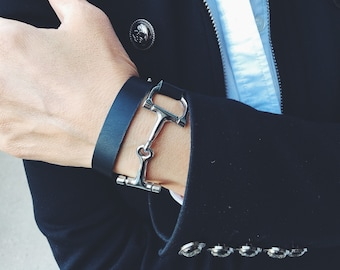 Equestrian Double Wrap Bit Bracelet, Horse Bracelet, Leather Horse Bracelet, Snaffle Bit Bracelet